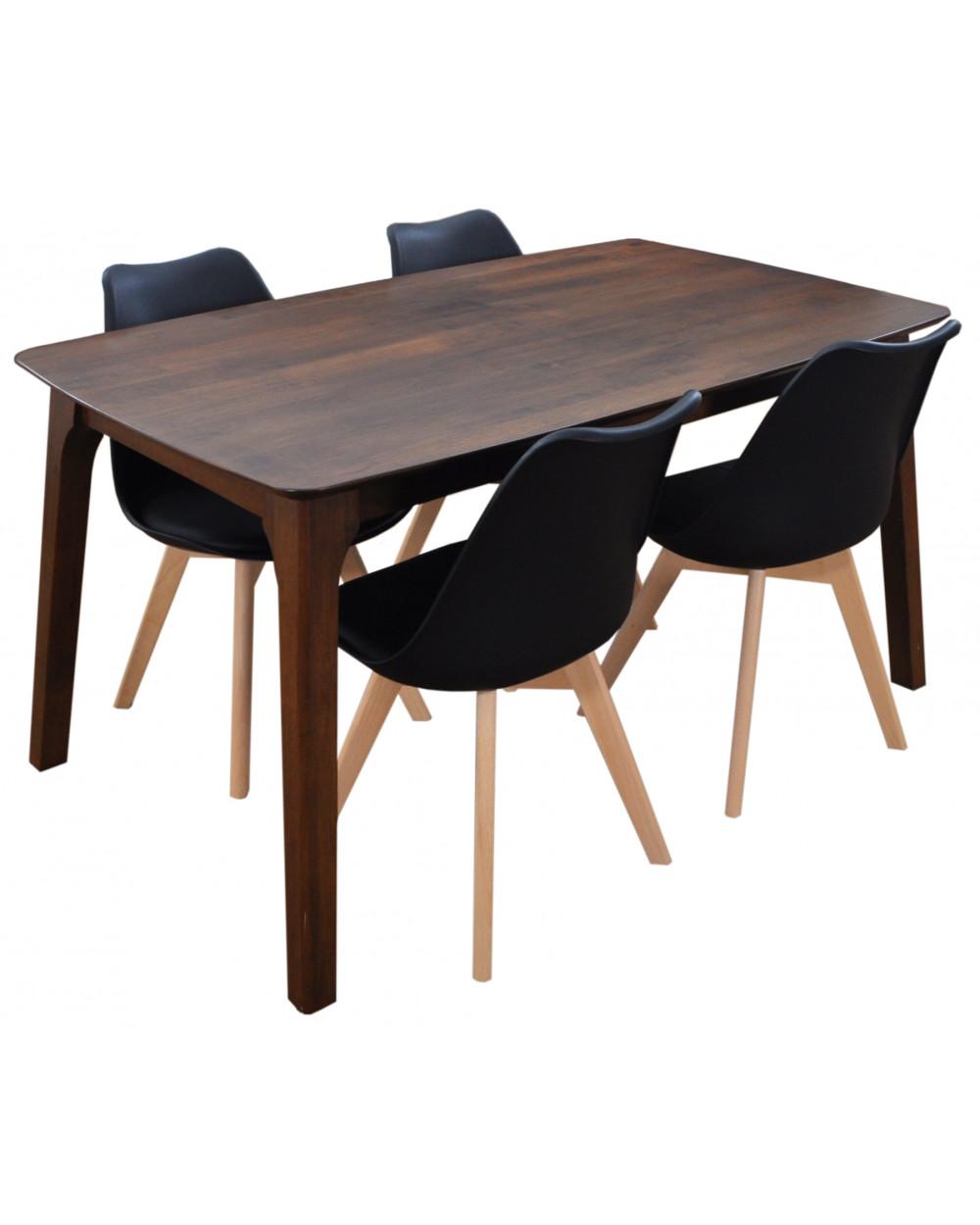 Rubberwood Walnut Dining Table